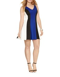 Lauren Ralph Lauren Plus Colorblock Sleeveless Ponte Dress Deep Royal Black Cream