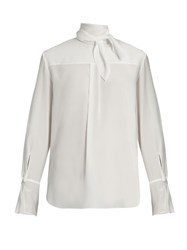 Chloe Tie Neck Silk Crepe De Chine Blouse White