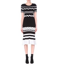 Preen Geometric Pattern Stretch Crepe Midi Dress Black And White