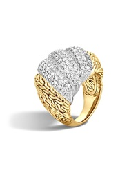 John Hardy Classic Chain 18K Gold Diamond Pave Dome Ring