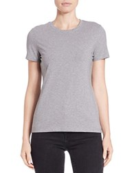 Lord And Taylor Cotton Blend Crewneck Tee Heather Grey