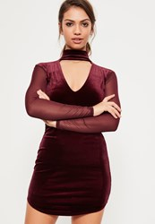 Missguided Burgundy Velvet Mesh Plunge Choker Dress