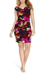 Lauren Ralph Lauren Plus Size Women's Floral Print Jersey Sheath Dress Berry