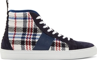 Msgm Navy Woven Plaid High Top Sneakers