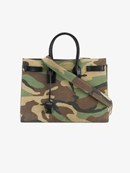 Saint Laurent Camouflage Suede And Leather Sac De Jour Black Brown Purple