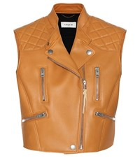 Coach Sleeveless Leather Jacket Brown