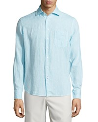Neiman Marcus Linen Chambray Long Sleeve Button Front Shirt Cielo