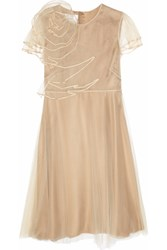 Valentino Layered Tulle And Silk Dress Nude