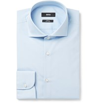 Hugo Boss Blue Slim Fit Cutaway Collar Cotton Shirt Blue
