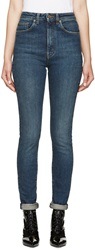 Saint Laurent Blue High Waisted Skinny Jeans