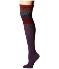 Smartwool Built Up Beehive Over The Knee Mountain Purple Heather Women's Thigh High Socks Shoes Metallic