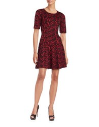 Gabby Skye Roundneck Printed Short Sleeve Dress Red Black