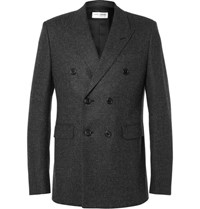 Saint Laurent Grey Double Breasted Prince Of Wales Checked Wool Blazer Gray