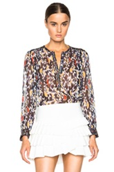 Isabel Marant Pilay Printed Patchwork Silk Blouse In Blue Abstract
