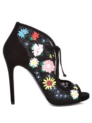 Tabitha Simmons Dusty Meadow Floral Embroidered Lace Sandals Black Multi