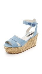 Alice Olivia Roberta Flatform Sandals Blue Denim