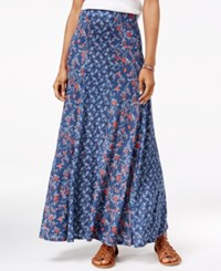 American Rag Printed Maxi Skirt Only At Macy's Dark Denim Combo