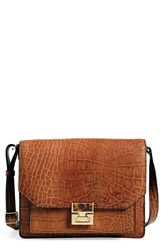 Ivanka Trump 'Hopewell' Leather Shoulder Bag Brown Croc