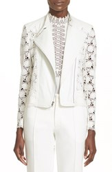 Women's Yigal Azrou L Hibiscus Lace And Lambskin Leather Moto Jacket