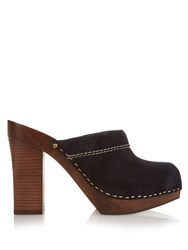 See By Chloe Suede Block Heel Clogs