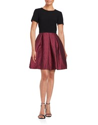 Trina Turk Judy Short Sleeve Fit And Flare Dress Black Red