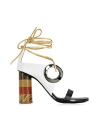 Proenza Schouler Black And White Leather Open Toe Sandal W Chunky Wooden Heel Multicolor