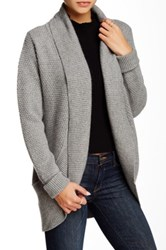 Portolano Textured Knit Open Front Cardigan Gray