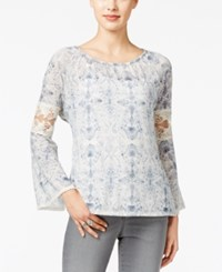 Styleandco. Style Co. Lantern Sleeve Lace Trim Top Only At Macy's Fade Tapestry Denim