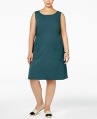 Love Squared Trendy Plus Size Shift Dress Teal