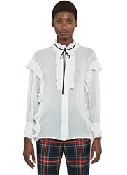 Gucci Ruffled Crepe De Chine Shirt White