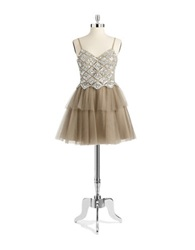 Basix Ii Square Mesh Party Dress Taupe Silver