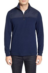 Men's Bugatchi Long Sleeve Quarter Zip Knit Sweatshirt Navy