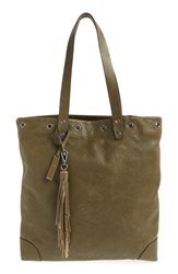 Treasure And Bond Grommet Leather Tote Green Olive Italy