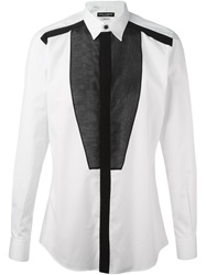 Dolce And Gabbana Organza Bib Shirt White