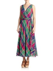 Polo Ralph Lauren Plaid Wrap Maxi Dress Pink Green Plaid