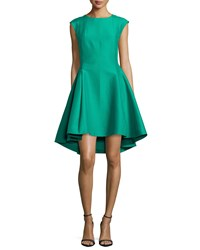 Halston Heritage Cap Sleeve Faille Ruffled High Low Dress Size 8 Green Clover
