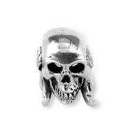 Metal Couture Large Florentine Skull Ring Silver