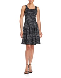 Ivanka Trump Floral Fit And Flare Dress Black Grey