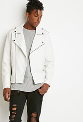 Forever 21 Faux Leather Moto Jacket White