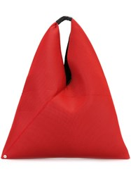 Maison Martin Margiela Mm6 Perforated Large Triangular Tote Red