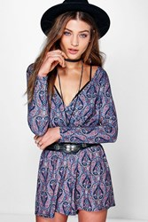 Boohoo Wrap Front Paisley Playsuit Multi