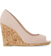 Dune Charlotte Reptile Embossed Leather Wedges Blush Reptile