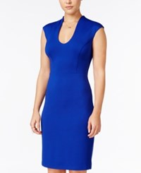 Teeze Me Juniors' U Neck Bodycon Dress Royal Blue