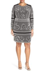 Xscape Evenings Plus Size Women's Xscape Beaded Long Sleeve Jersey Sheath Dress