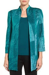 Ming Wang Women's Abstract Knit Mandarin Collar Jacket