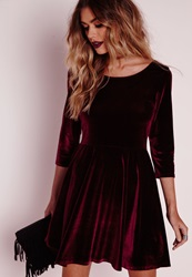 Missguided 3 4 Sleeve Velvet Skater Dress Oxblood