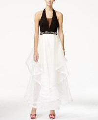 Teeze Me Juniors' Embellished Colorblocked Ruffled Halter Gown