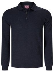 John Lewis Made In Italy Merino Long Sleeve Polo Shirt Navy
