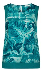 Sandwich Tropical Print Sleeveless Top Teal