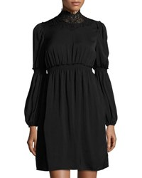 Max Studio High Neck Bubble Sleeve Dress Black
